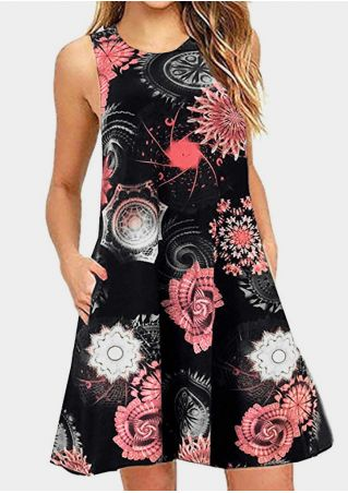 Floral Pocket Sleeveless Mini Dress