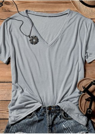 Solid V-Neck Short Sleeve T-Shirt Tee