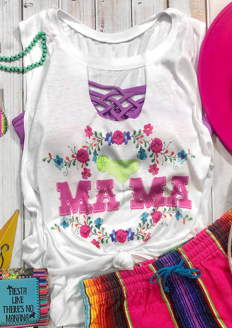 Mama Floral Hollow Out Tank