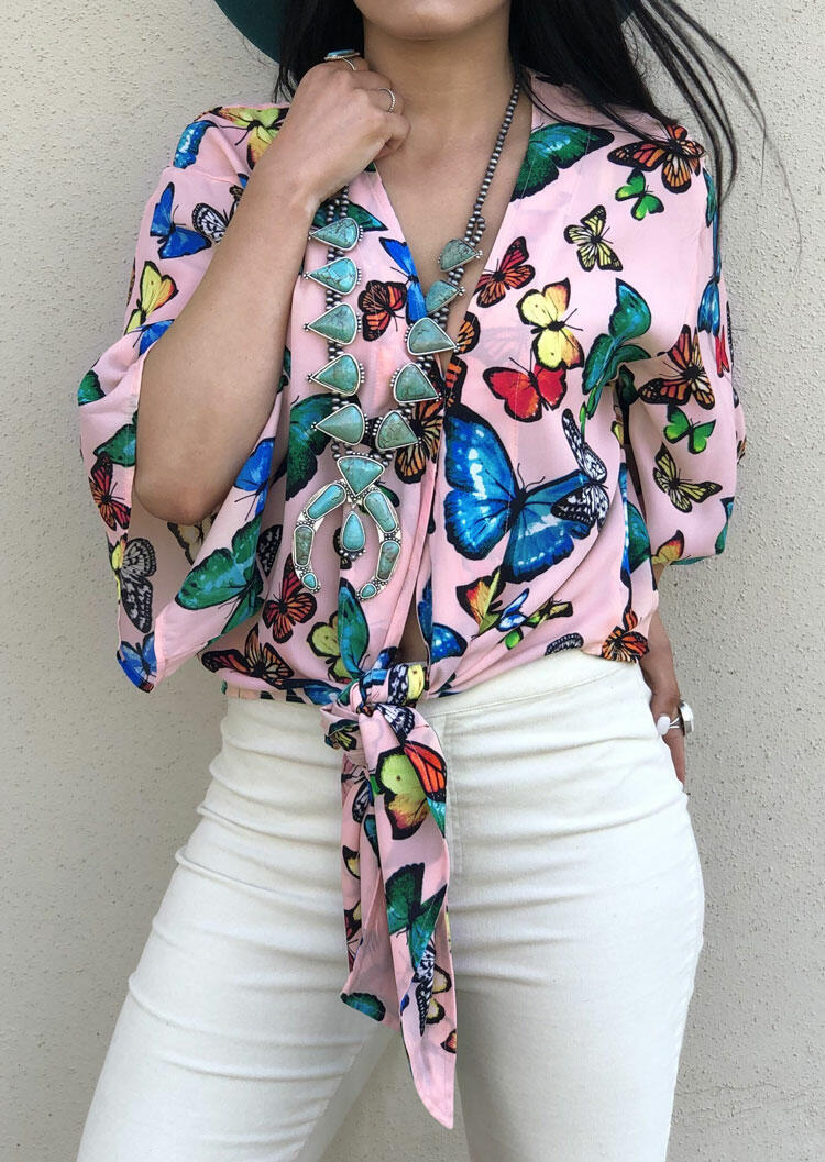 Butterfly Tie V-Neck Blouse without Necklace -Pink
