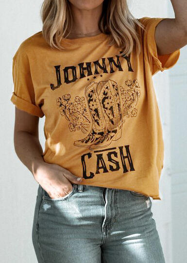 Johnny Cash O-Neck T-Shirt Tee - Yellow фото