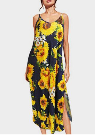 Sunflower Slit Spaghetti Strap Maxi Dress - Navy Blue