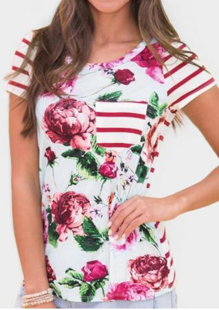 Floral Striped Pocket T-Shirt Tee - Red