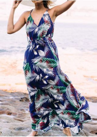 Leaf Deep V-Neck Maxi Dress - Blue