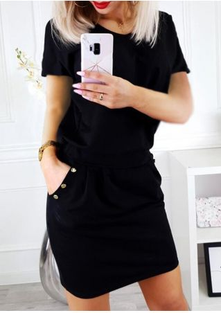 Solid Pocket Short Sleeve Mini Dress - Black
