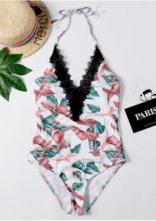 Leaf Lace Splicing Swimsuit -Multicolor