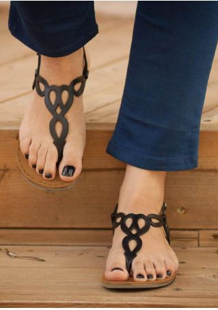 Solid Round Toe Flat Sandals - Black