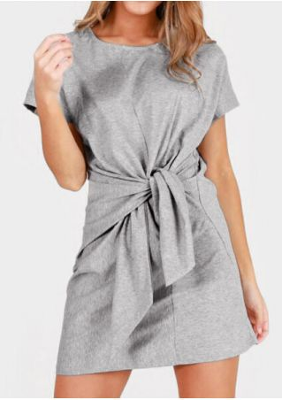 Solid Tie O-Neck Short Sleeve Mini Dress - Gray