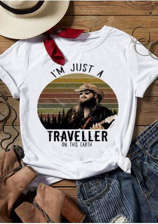 I'm Just A Traveller T-Shirt Tee - White