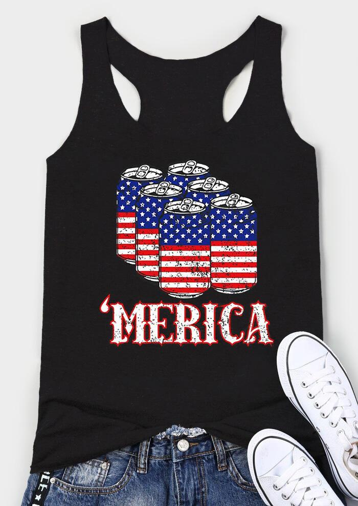 'Merica American Flag Tank - Black