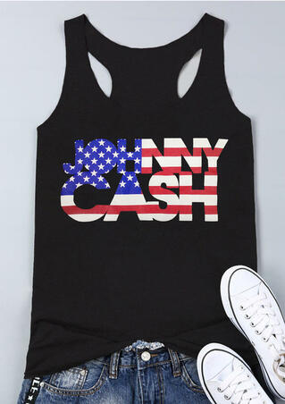 Johnny Cash O-Neck Tank - Black