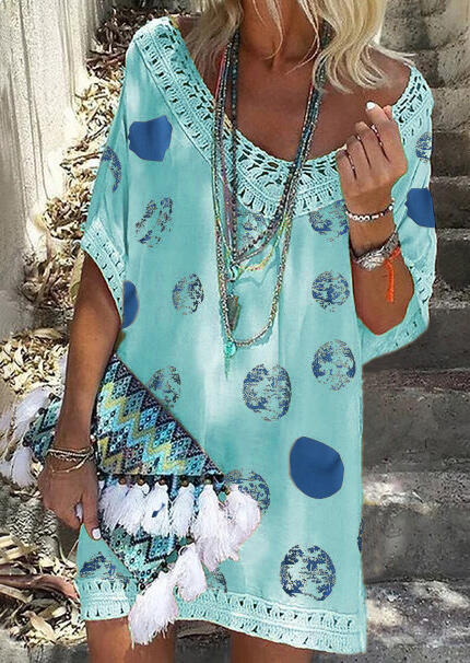 Mini Dresses Printed Lace Splicing Mini Dress without Necklace in Lake Blue. Size: S,L фото