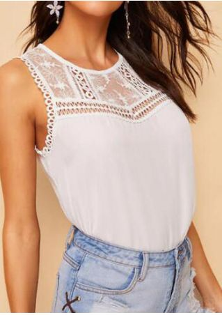 Solid Lace Splicing Tank - White