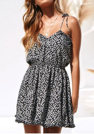 Floral Tie Backless Mini Dress without Necklace - Black