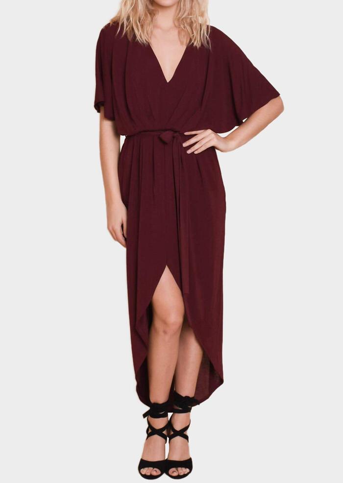 269bfd575711 Solid Deep V-Neck Slit Maxi Dress -Burgundy - Fairyseason