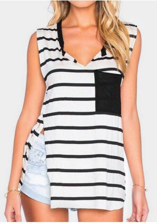 Striped Pocket Slit Tank - Stripe
