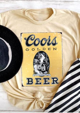 Coors Beer  O-Neck T-Shirt Tee -Apricot