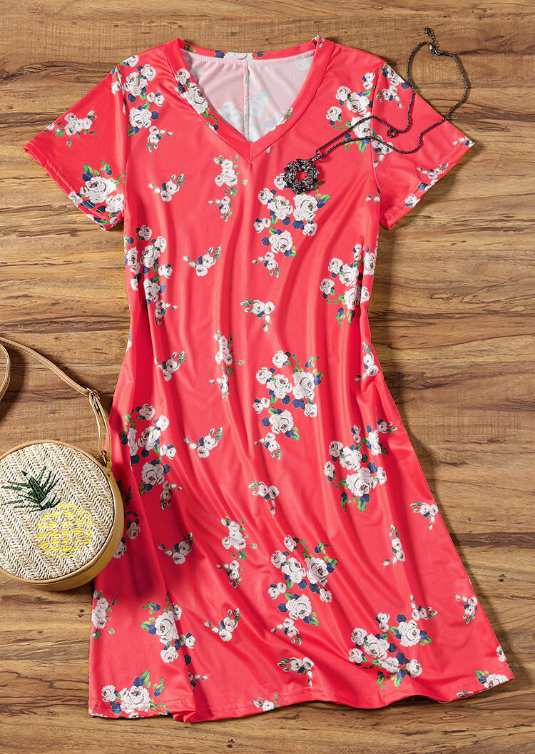 Floral V-Neck Mini Dress without Necklace – Red