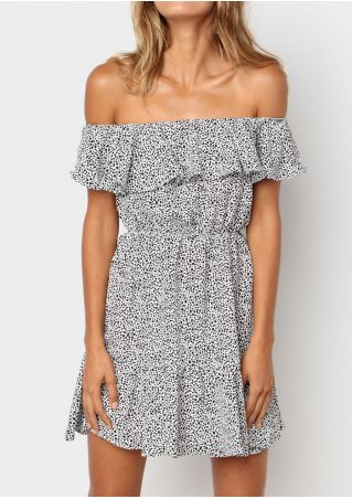 Leopard Printed Off Shoulder Mini Dress - White