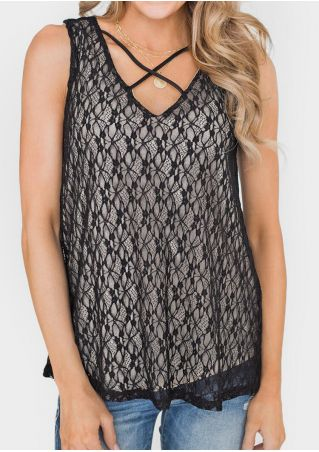 Solid Lace Criss-Cross Camisole without Necklace -Black