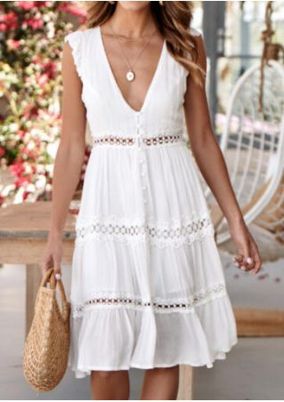 Solid Lace Splicing Deep V-Neck Mini Dress without Necklace - White