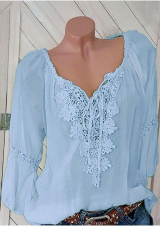 Solid Lace Splicing Tie Blouse - Light Blue