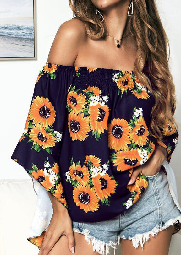 c926d8dd65a3 Sunflower Off Shoulder Blouse - Navy Blue - Fairyseason