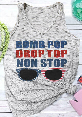Bomb Pop Drop Top Non Stop Tank - Gray