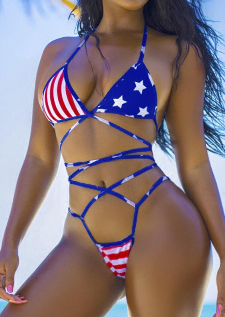 American Flag Criss-Cross Bikini Set - Blue