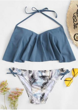 Leaf Layered Halter Bikini Set