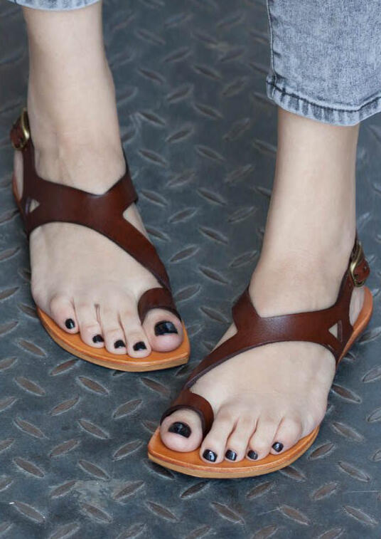 Solid Buckle Strap Flat Sandals Coffee