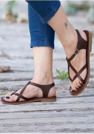 Solid Buckle Strap Flat Sandals - Coffee