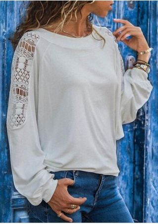 Solid Lace Splicing O-Neck Blouse - White
