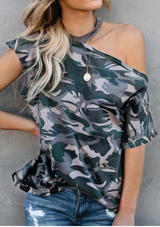Camouflage Printed One Shoulder Blouse -Camouflage