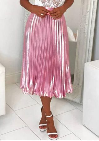 Solid Ruffled Long Skirt - Pink