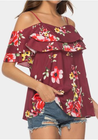 Floral Layered Cold Shoulder Blouse - Burgundy