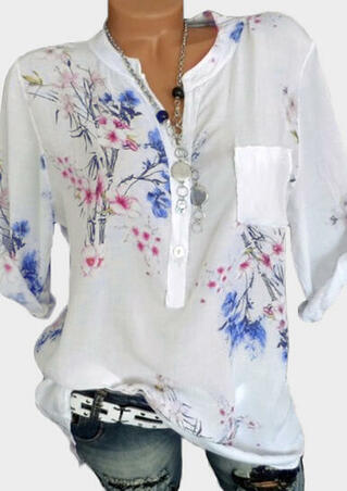 Floral Tab-Sleeve Blouse without Necklace - White