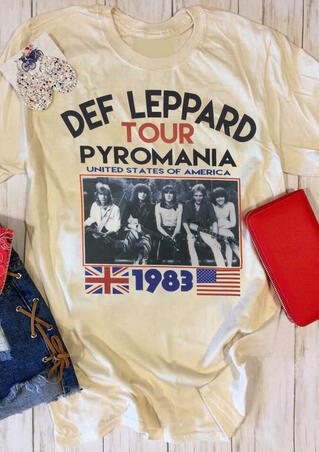 Def Leppard Tour Pyromania 1983 T-Shirt Tee - Cream