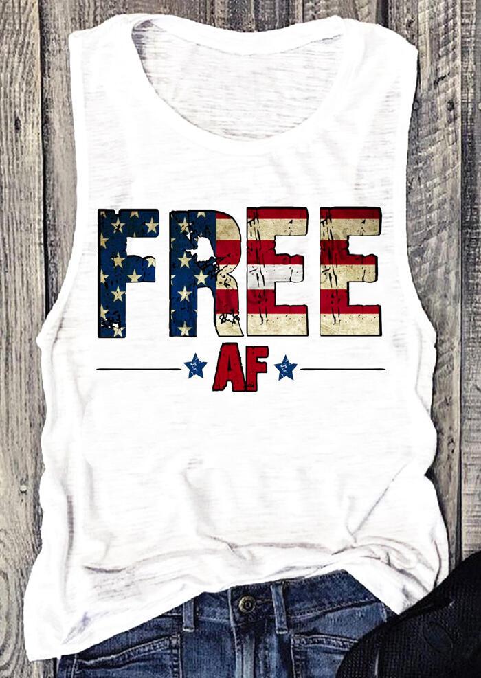 Free American Flag O-Neck Tank – White