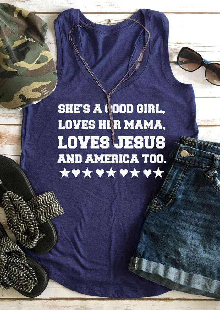 She's A Good Girl Loves Her Mama Tank - Navy Blue фото