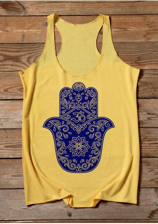 Floral Racerback Tank - Yellow