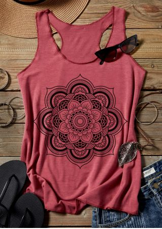 Floral O-Neck Chic Tank - Brick Red