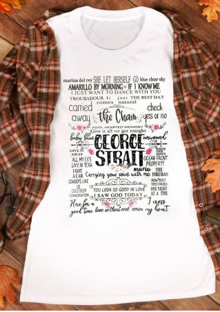 George Strait O-Neck Tank - White