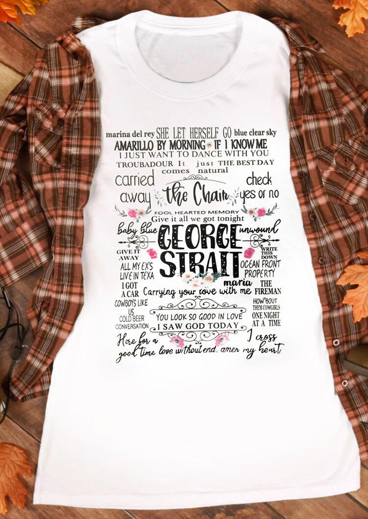 a0bd54e3 George Strait O-Neck T-Shirt Tee - White - Fairyseason