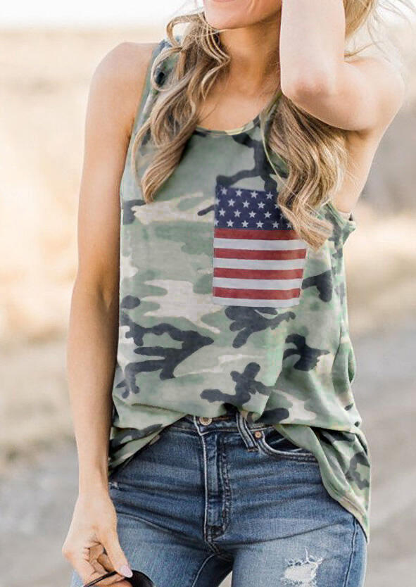 Tank Tops Camouflage Printed American Flag Tank in Camouflage. Size: S,M,L,XL,2XL,3XL фото
