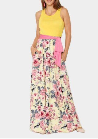 Floral Pocket Sleeveless Maxi Dress - Yellow