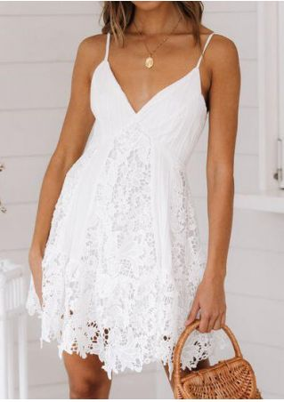 Solid Lace Floral Splicing Mini Dress without Necklace - White