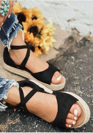 Summer Solid Zipper Platform Sandals - Black