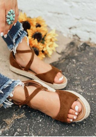 Summer Solid Zipper Platform Sandals - Brown