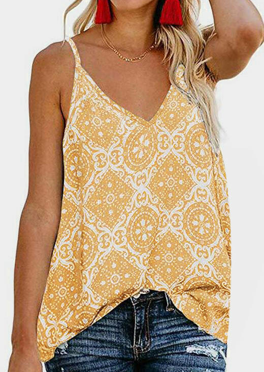 Geometric Printed Camisole without Necklace - Yellow